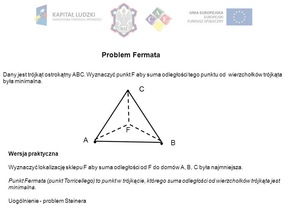 Problem Fermata B A C C F Dany jest trójkąt ostrokątny ABC. Wyznaczyć punkt F aby suma odległości tego punktu od wierzchołków trójkąta była minimalna.