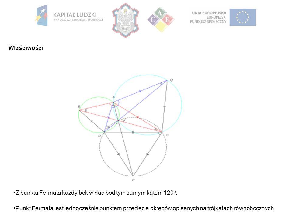 Właściwości Z punktu Fermata każdy bok widać pod tym samym kątem 120 o. Punkt Fermata jest jednocześnie punktem przecięcia okręgów opisanych na trójką