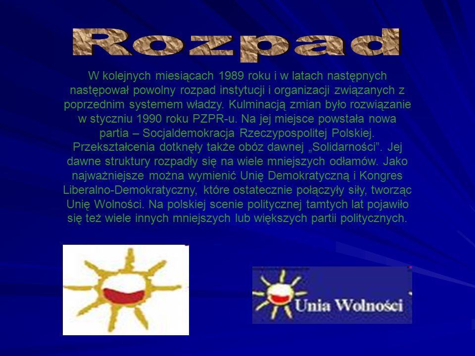 W kolejnych miesiącach 1989 roku i w latach następnych następował powolny rozpad instytucji i organizacji związanych z poprzednim systemem władzy.