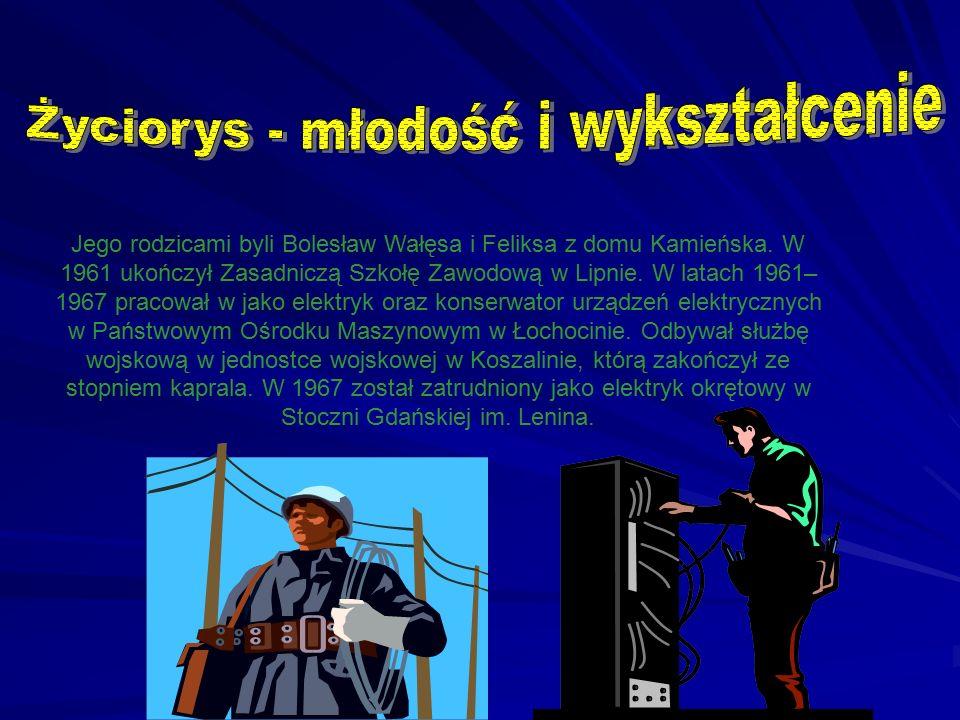 Jego rodzicami byli Bolesław Wałęsa i Feliksa z domu Kamieńska. W 1961 ukończył Zasadniczą Szkołę Zawodową w Lipnie. W latach 1961– 1967 pracował w ja