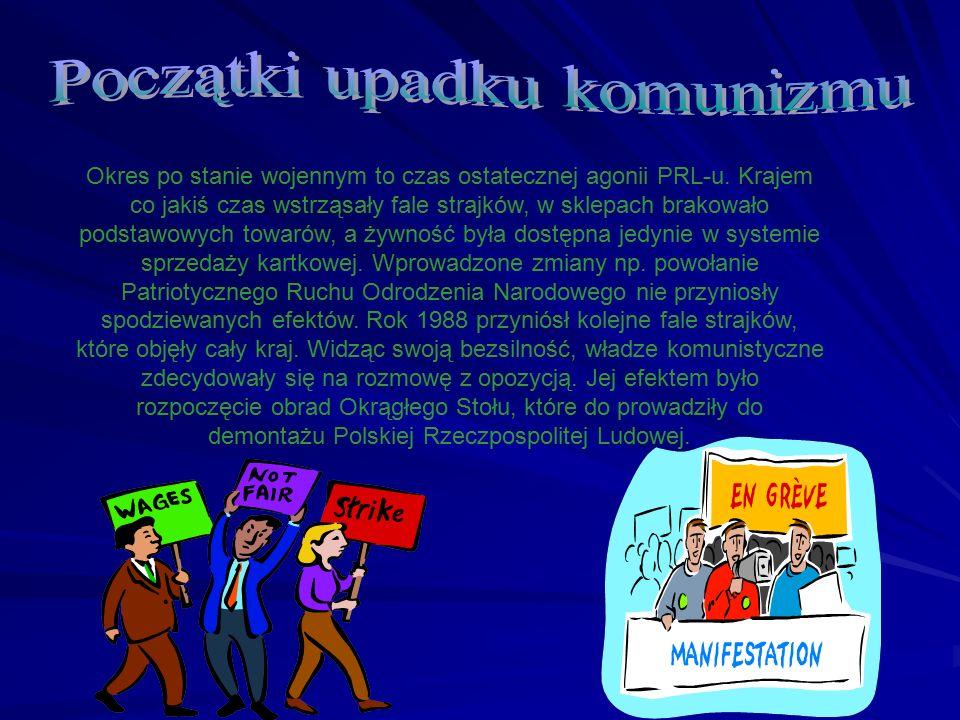 Okres po stanie wojennym to czas ostatecznej agonii PRL-u. Krajem co jakiś czas wstrząsały fale strajków, w sklepach brakowało podstawowych towarów, a