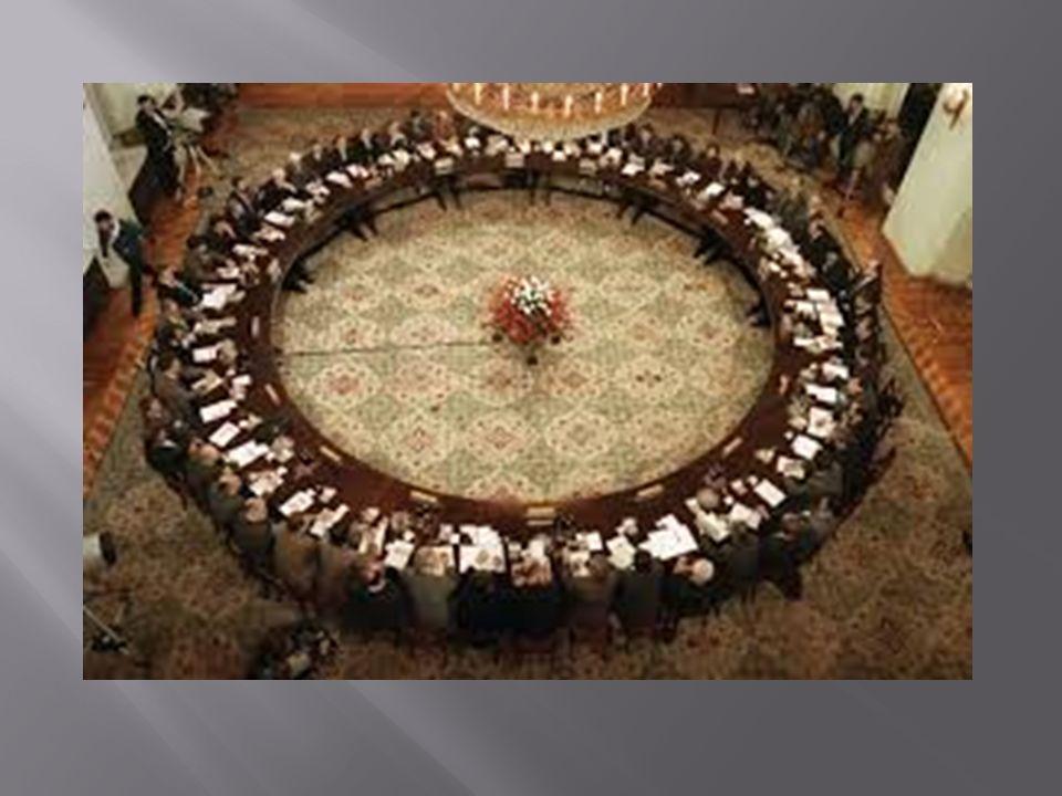 Okrągły Stół – negocjacje prowadzone od 6 lutego do 5 kwietnia 1989 przez przedstawicieli władz PRL, opozycji solidarnościowej oraz kościelnej (status obserwatora –Kościół Ewangelicko- Augsburski oraz Kościół rzymskokatolicki).
