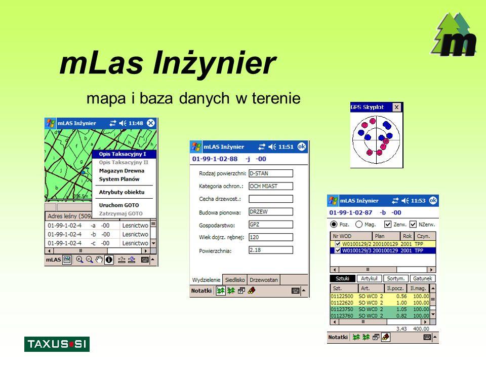 mLas Inżynier - Funkcjonalność  Przeglądarka GIS: –warstwy wektorowe i rastrowe –legenda mapy: definiowanie stylu wyświetlania (linia, wypełnienie, etykiety) mapy tematyczne –przedziały wartości –wartości unikalne –zapis i odczyt projektów