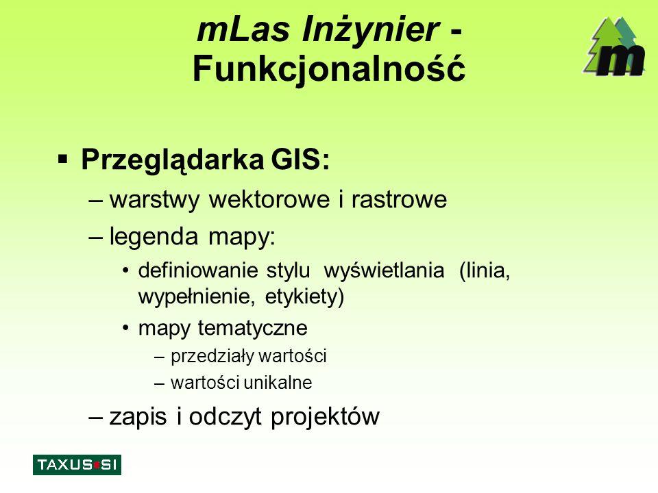 mLas Inżynier - Funkcjonalność  Przeglądarka GIS: –warstwy wektorowe i rastrowe –legenda mapy: definiowanie stylu wyświetlania (linia, wypełnienie, e