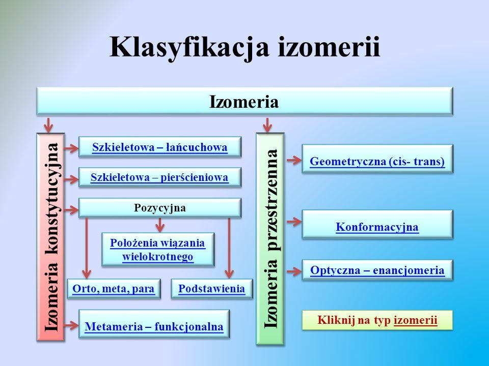 Klasyfikacja izomerii Izomeria Izomeria konstytucyjna Izomeria przestrzenna Szkieletowa – łańcuchowa Optyczna – enancjomeria Konformacyjna Geometryczn