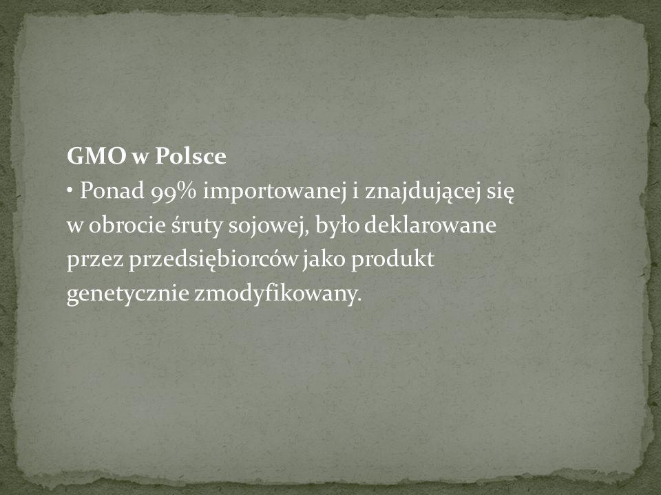 GMO w Polsce Ponad 99% importowanej i znajdującej się w obrocie śruty sojowej, było deklarowane przez przedsiębiorców jako produkt genetycznie zmodyfikowany.