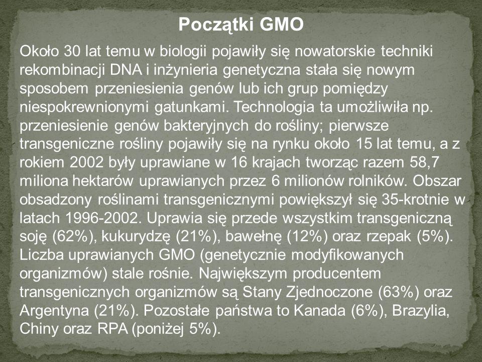 Początki GMO Około 30 lat temu w biologii pojawiły się nowatorskie techniki rekombinacji DNA i inżynieria genetyczna stała się nowym sposobem przeniesienia genów lub ich grup pomiędzy niespokrewnionymi gatunkami.
