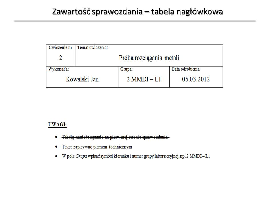 Zawartość sprawozdania – tabela nagłówkowa