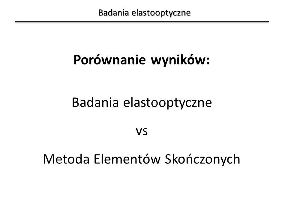Badania elastooptyczne Porównanie wyników: Badania elastooptyczne vs Metoda Elementów Skończonych