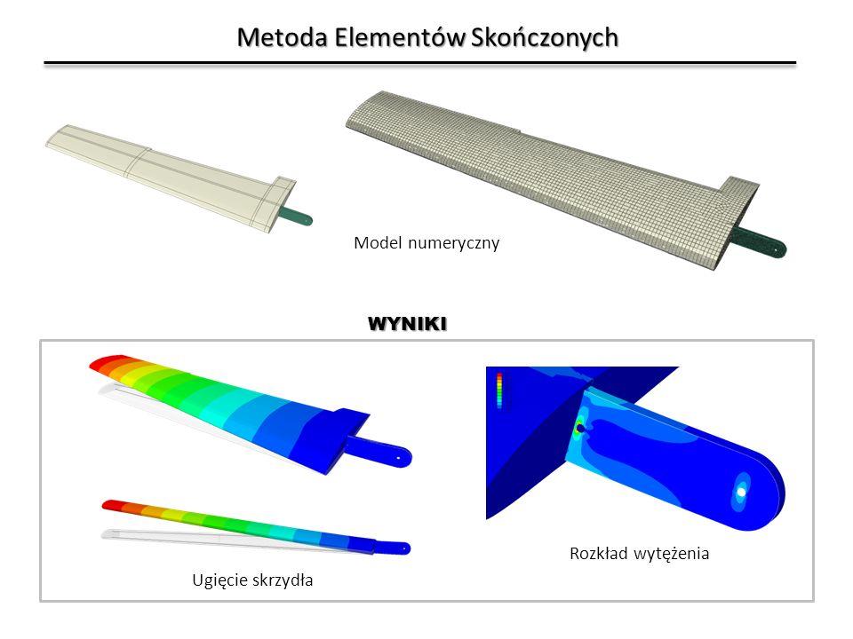 Metoda Elementów Skończonych Model numeryczny Ugięcie skrzydła Rozkład wytężenia WYNIKI