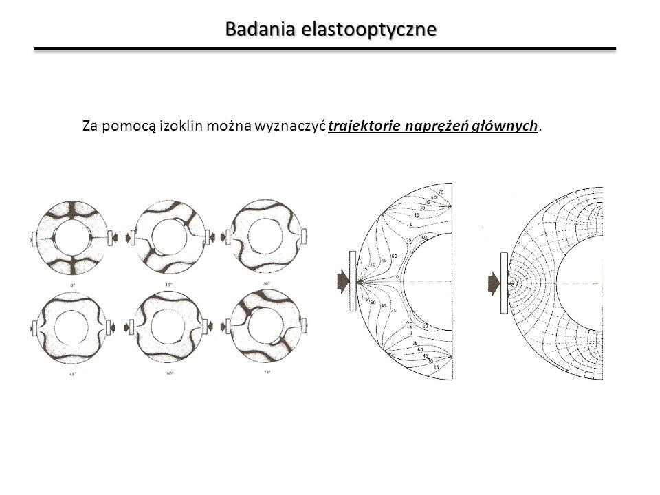 Badania elastooptyczne Za pomocą izoklin można wyznaczyć trajektorie naprężeń głównych.