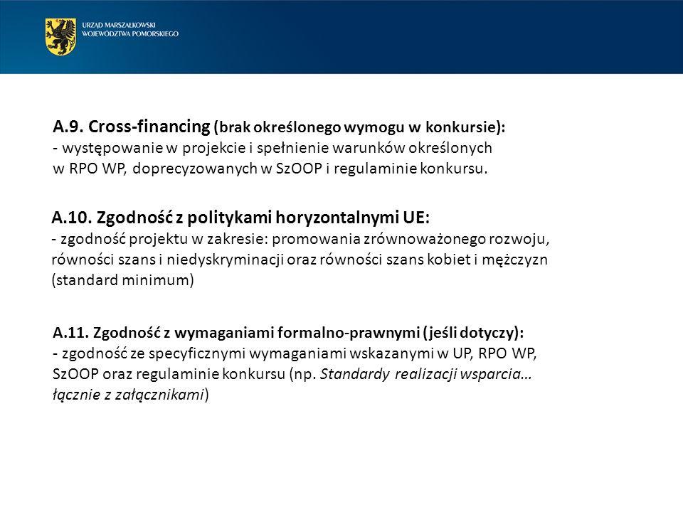 A.9. Cross-financing (brak określonego wymogu w konkursie): - występowanie w projekcie i spełnienie warunków określonych w RPO WP, doprecyzowanych w S