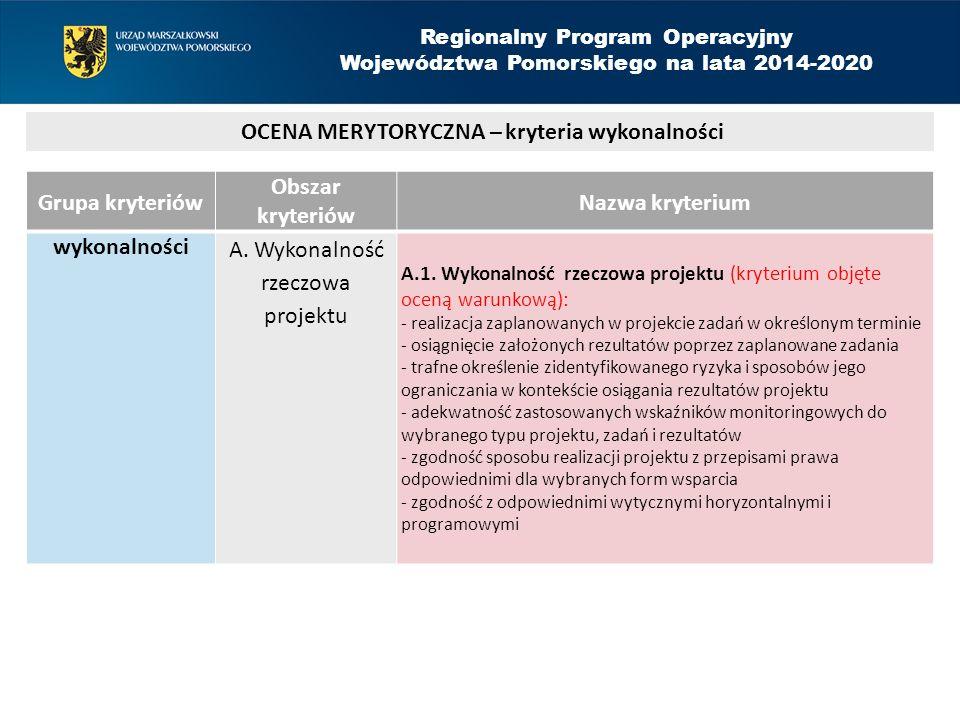 Grupa kryteriów Obszar kryteriów Nazwa kryterium wykonalności A. Wykonalność rzeczowa projektu A.1. Wykonalność rzeczowa projektu (kryterium objęte oc