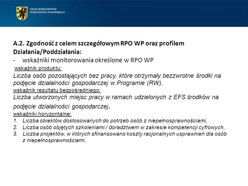A.2. Zgodność z celem szczegółowym RPO WP oraz profilem Działania/Poddziałania: -wskaźniki monitorowania określone w RPO WP wskaźnik produktu: Liczba