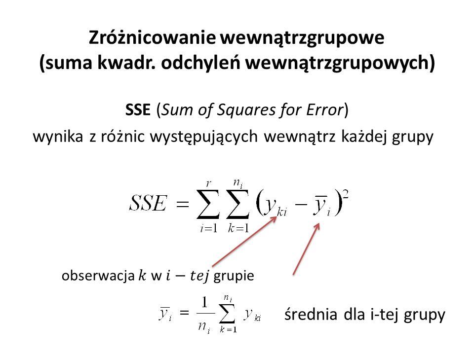 Zróżnicowanie wewnątrzgrupowe (suma kwadr. odchyleń wewnątrzgrupowych) SSE (Sum of Squares for Error) wynika z różnic występujących wewnątrz każdej gr
