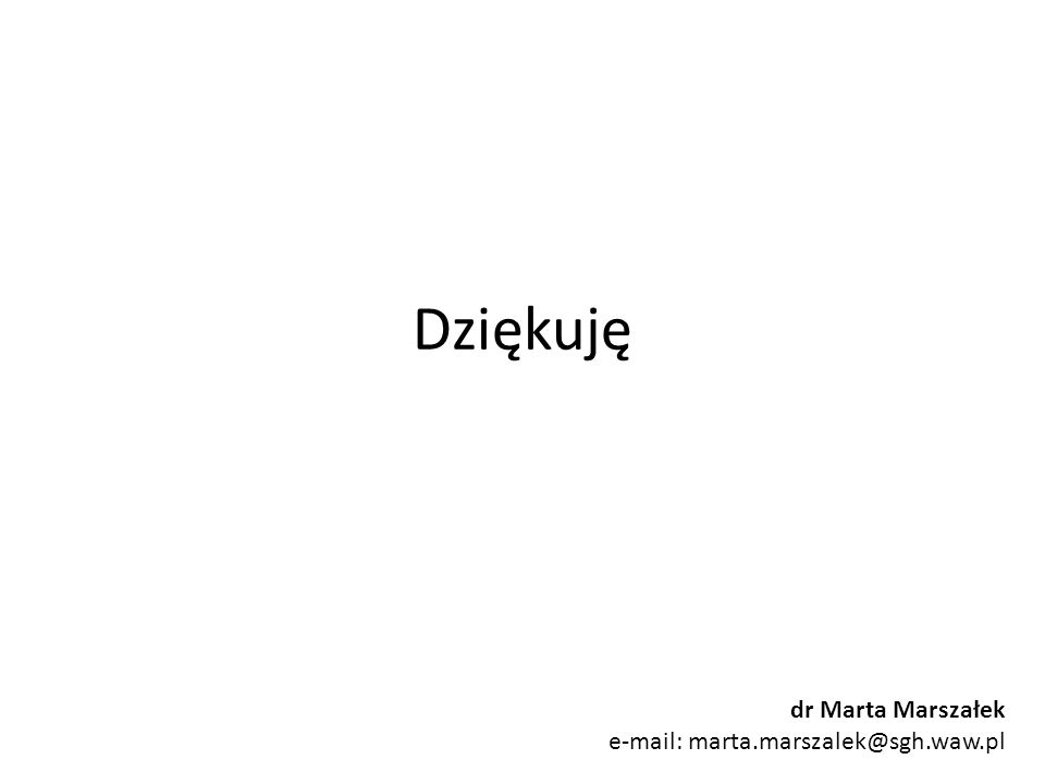 Dziękuję dr Marta Marszałek e-mail: marta.marszalek@sgh.waw.pl