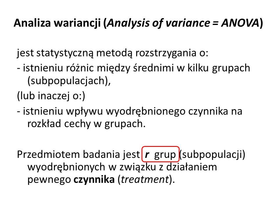 Analiza wariancji (Analysis of variance = ANOVA) jest statystyczną metodą rozstrzygania o: - istnieniu różnic między średnimi w kilku grupach (subpopu