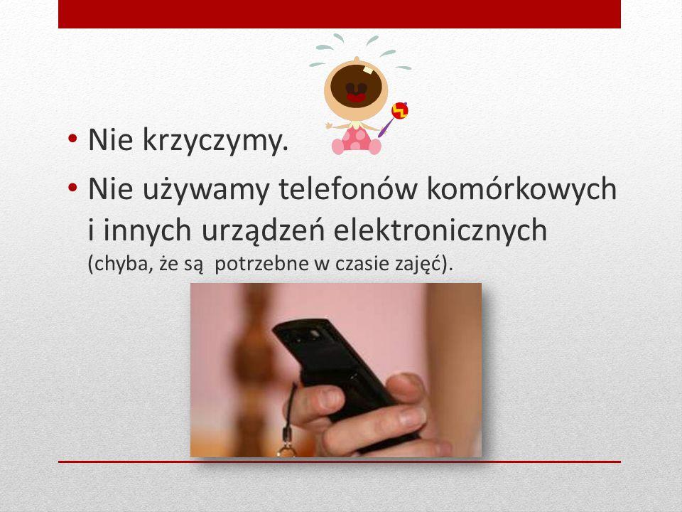 Nie krzyczymy. Nie używamy telefonów komórkowych i innych urządzeń elektronicznych (chyba, że są potrzebne w czasie zajęć).