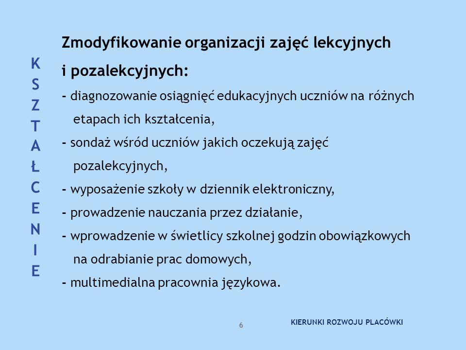 Zmodyfikowanie organizacji zajęć lekcyjnych i pozalekcyjnych: - diagnozowanie osiągnięć edukacyjnych uczniów na różnych etapach ich kształcenia, - son