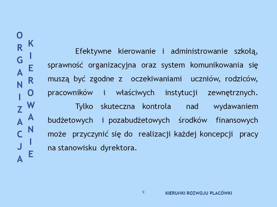 Efektywne kierowanie i administrowanie szkołą, sprawność organizacyjna oraz system komunikowania się muszą być zgodne z oczekiwaniami uczniów, rodzicó