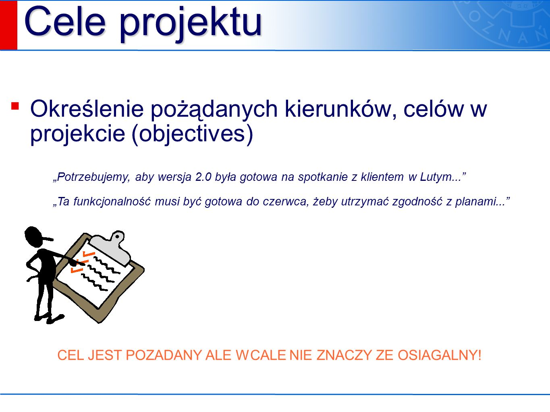 """Cele projektu ▪ Określenie pożądanych kierunków, celów w projekcie (objectives) """"Potrzebujemy, aby wersja 2.0 była gotowa na spotkanie z klientem w Lutym... """"Ta funkcjonalność musi być gotowa do czerwca, żeby utrzymać zgodność z planami... CEL JEST POZADANY ALE WCALE NIE ZNACZY ZE OSIAGALNY!"""