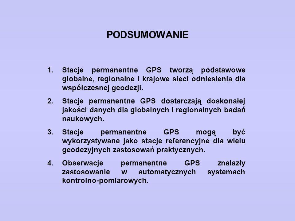 PODSUMOWANIE 1.Stacje permanentne GPS tworzą podstawowe globalne, regionalne i krajowe sieci odniesienia dla współczesnej geodezji. 2.Stacje permanent