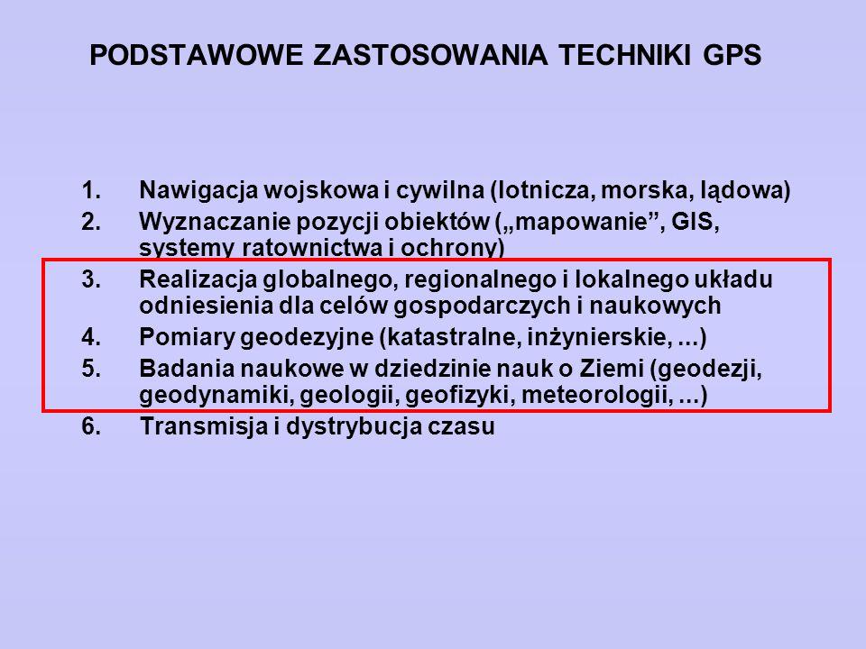 """PODSTAWOWE ZASTOSOWANIA TECHNIKI GPS 1.Nawigacja wojskowa i cywilna (lotnicza, morska, lądowa) 2.Wyznaczanie pozycji obiektów (""""mapowanie"""", GIS, syste"""