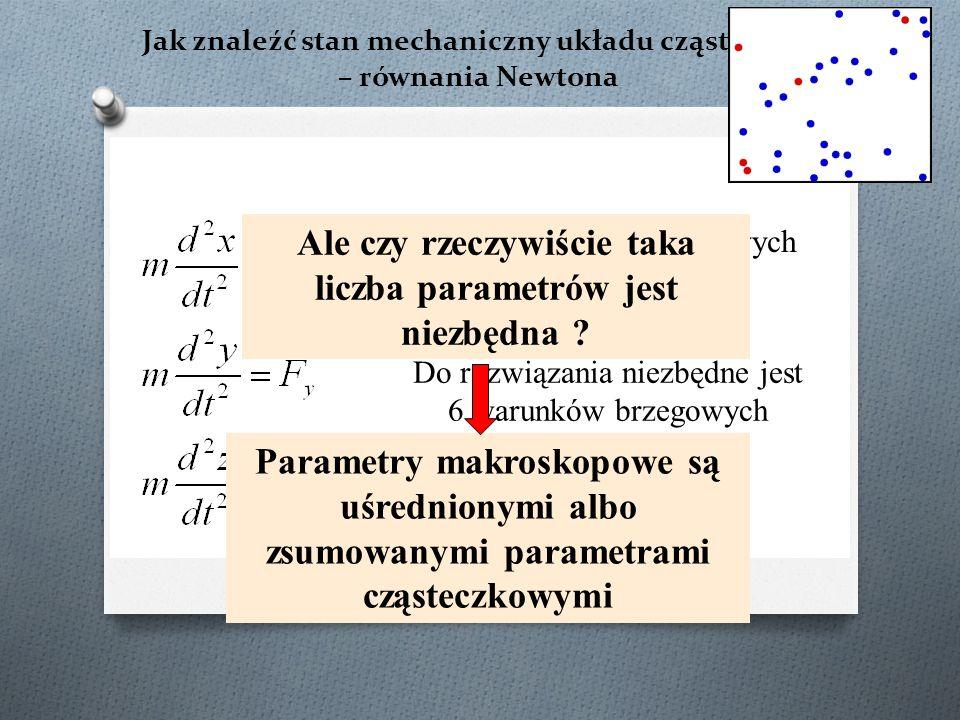 Jak znaleźć stan mechaniczny układu cząsteczek – równania Newtona Układ 3 równań różniczkowych drugiego rzędu Do rozwiązania niezbędne jest 6 warunków brzegowych Dla N cząsteczek – 6N parametrów.