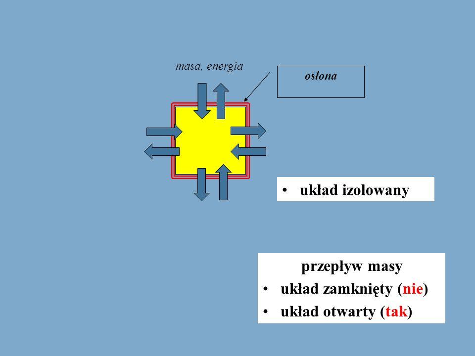 układ izolowany osłona przepływ masy układ zamknięty (nie) układ otwarty (tak) masa, energia