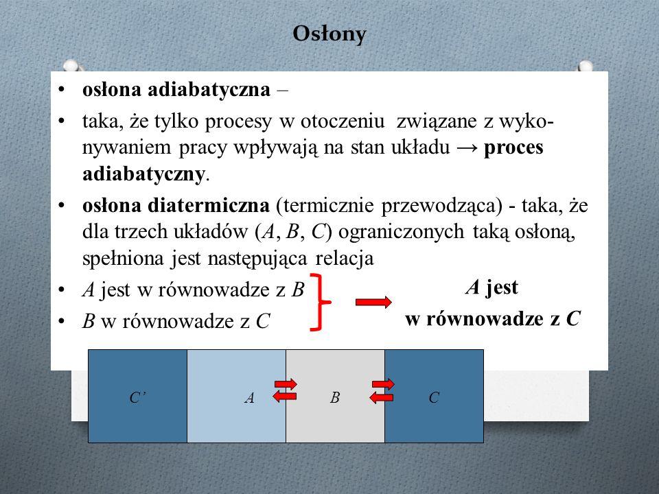 Osłony osłona adiabatyczna – taka, że tylko procesy w otoczeniu związane z wyko- nywaniem pracy wpływają na stan układu → proces adiabatyczny. osłona