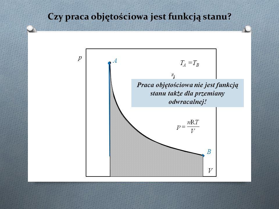 Czy praca objętościowa jest funkcją stanu? p V A B Praca objętościowa nie jest funkcją stanu także dla przemiany odwracalnej! T A =T B