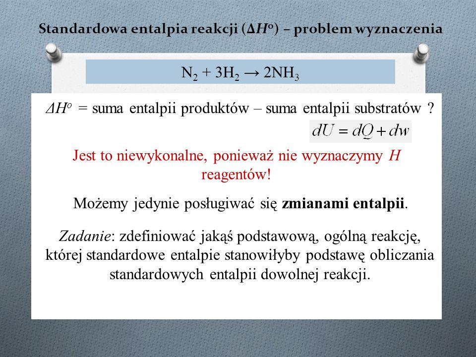 Standardowa entalpia reakcji (ΔH o ) – problem wyznaczenia N 2 + 3H 2 → 2NH 3 ΔH o = suma entalpii produktów – suma entalpii substratów .