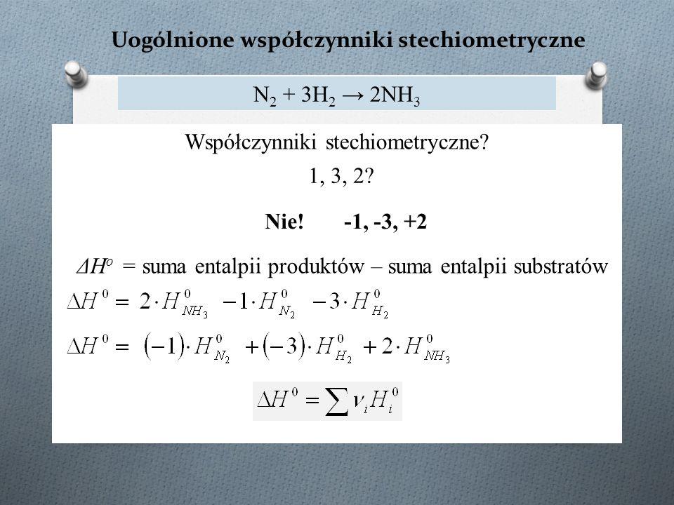 Uogólnione współczynniki stechiometryczne N 2 + 3H 2 → 2NH 3 ΔH o = suma entalpii produktów – suma entalpii substratów Współczynniki stechiometryczne.