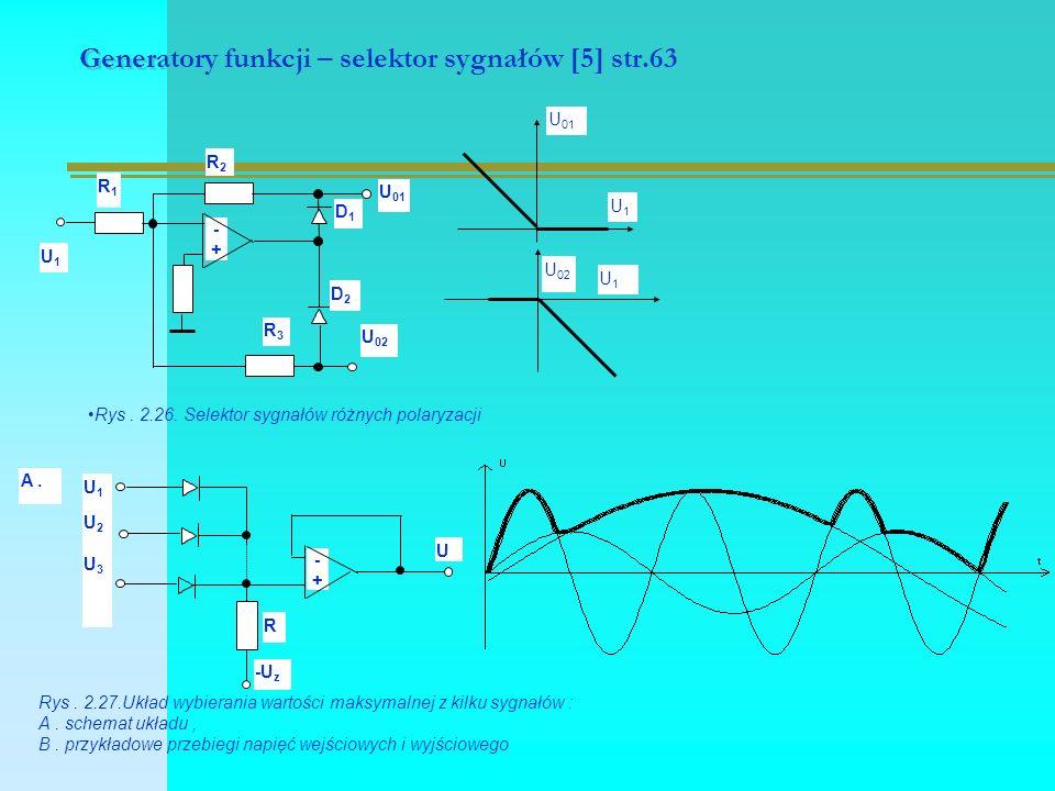 Generatory funkcji – selektor sygnałów [5] str.63 -+-+ R2R2 R1R1 U1U1 R3R3 D1D1 D2D2 U 01 U 02 U 01 U1U1 U 02 U1U1 Rys.