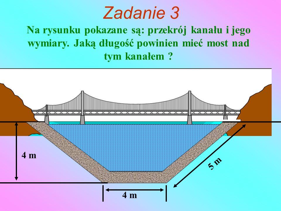 Na rysunku pokazane są: przekrój kanału i jego wymiary.