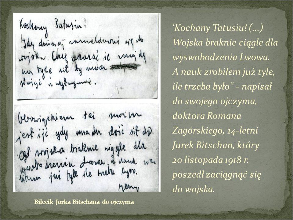 Kochany Tatusiu. (...) Wojska braknie ciągle dla wyswobodzenia Lwowa.