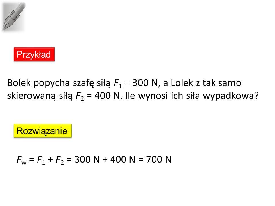 Przykład Bolek popycha szafę siłą F 1 = 300 N, a Lolek z tak samo skierowaną siłą F 2 = 400 N.