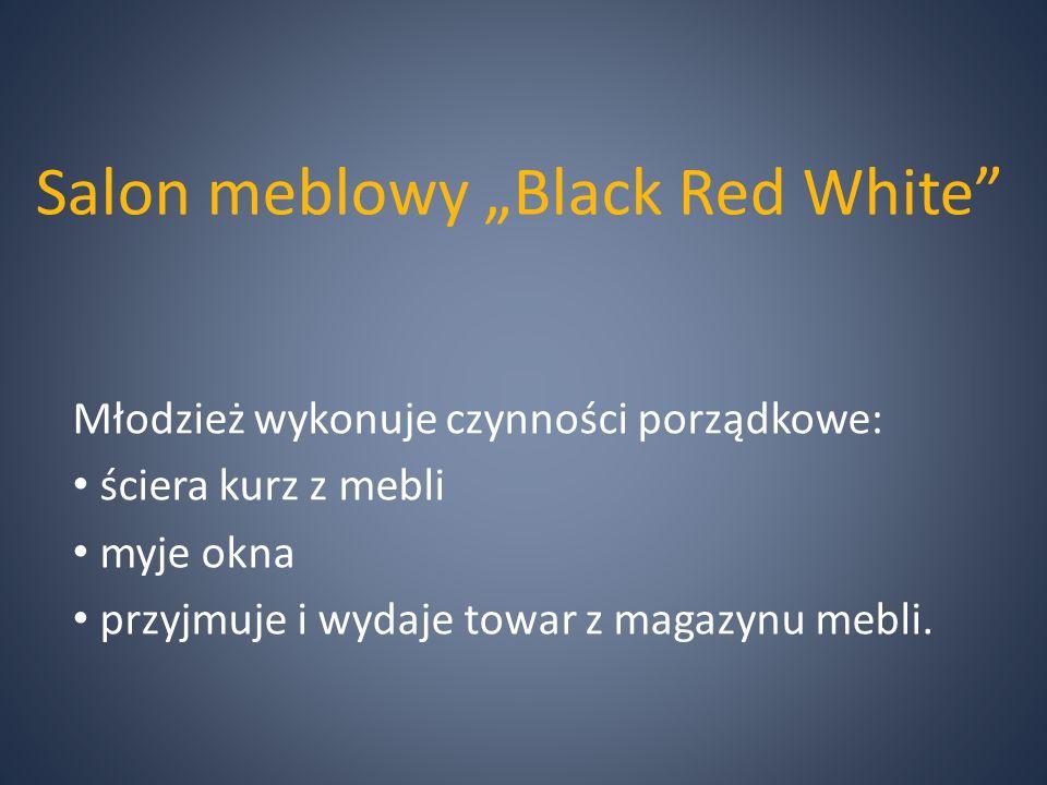 """Salon meblowy """"Black Red White Młodzież wykonuje czynności porządkowe: ściera kurz z mebli myje okna przyjmuje i wydaje towar z magazynu mebli."""