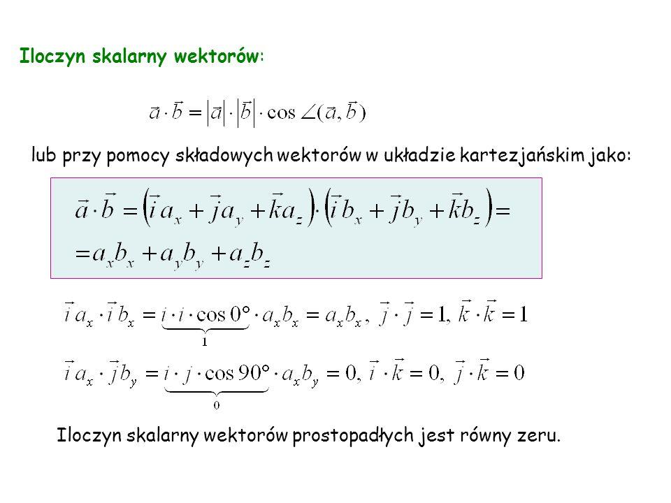 Iloczyn skalarny wektorów: lub przy pomocy składowych wektorów w układzie kartezjańskim jako: Iloczyn skalarny wektorów prostopadłych jest równy zeru.