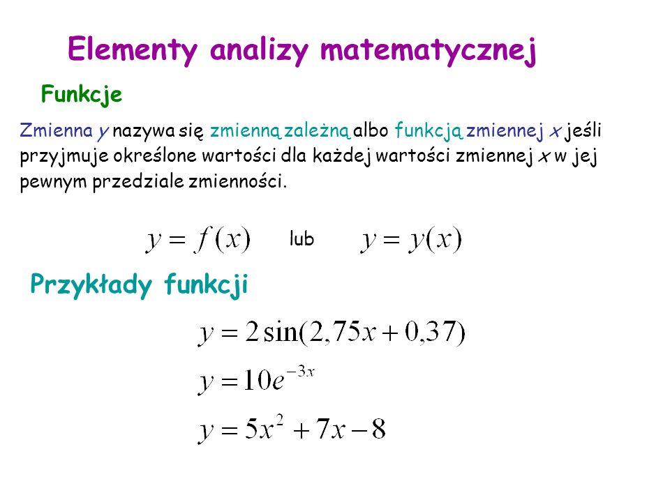 Elementy analizy matematycznej Funkcje Zmienna y nazywa się zmienną zależną albo funkcją zmiennej x jeśli przyjmuje określone wartości dla każdej wartości zmiennej x w jej pewnym przedziale zmienności.