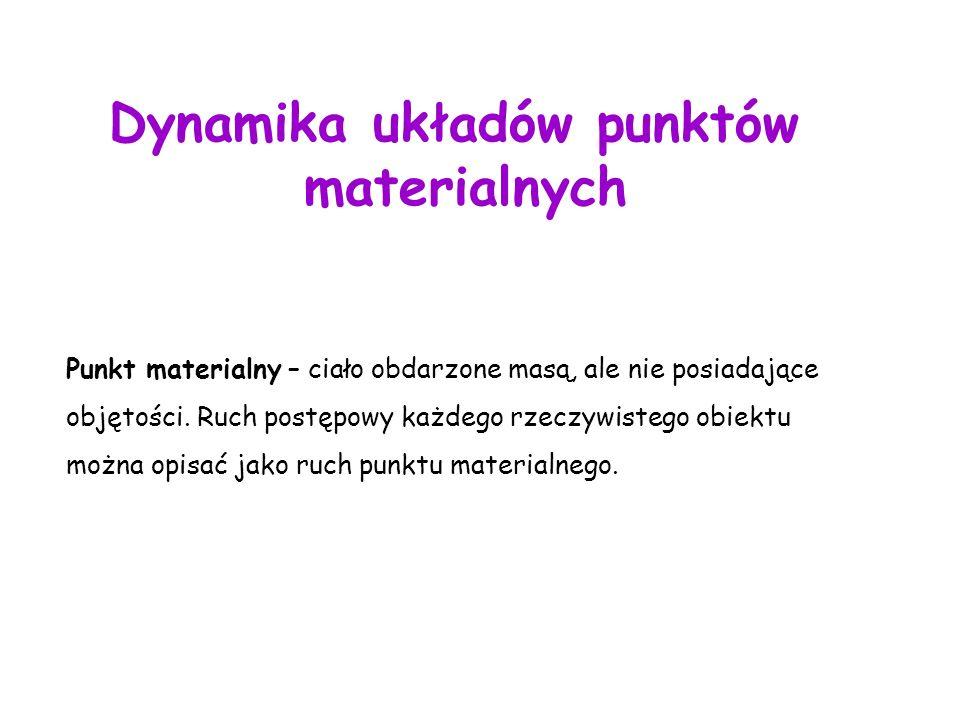 Dynamika układów punktów materialnych Punkt materialny – ciało obdarzone masą, ale nie posiadające objętości.