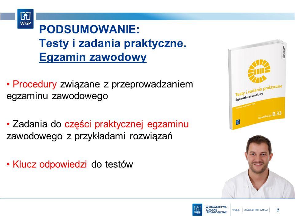6 PODSUMOWANIE: Testy i zadania praktyczne. Egzamin zawodowy Procedury związane z przeprowadzaniem egzaminu zawodowego Zadania do części praktycznej e