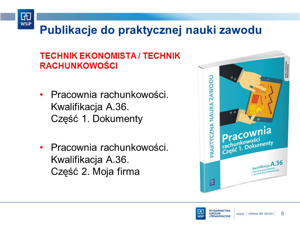 8 Publikacje do praktycznej nauki zawodu TECHNIK EKONOMISTA / TECHNIK RACHUNKOWOŚCI Pracownia rachunkowości. Kwalifikacja A.36. Część 1. Dokumenty Pra