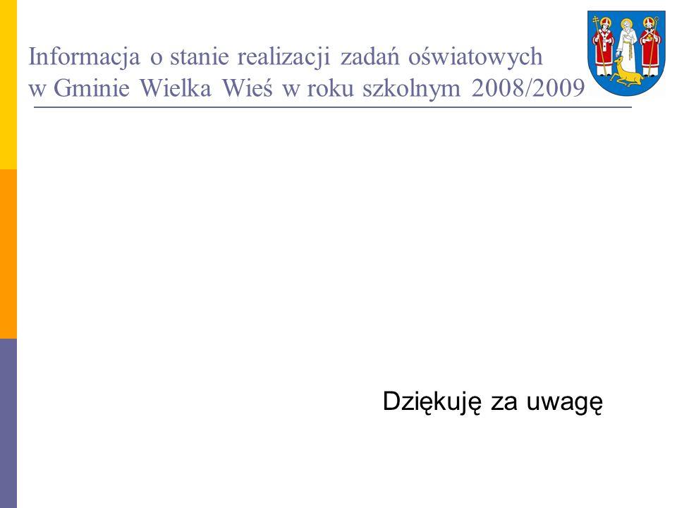 Informacja o stanie realizacji zadań oświatowych w Gminie Wielka Wieś w roku szkolnym 2008/2009 Dziękuję za uwagę