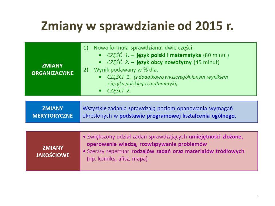 Zmiany w sprawdzianie od 2015 r. 2 ZMIANY ORGANIZACYJNE 1)Nowa formuła sprawdzianu: dwie części.