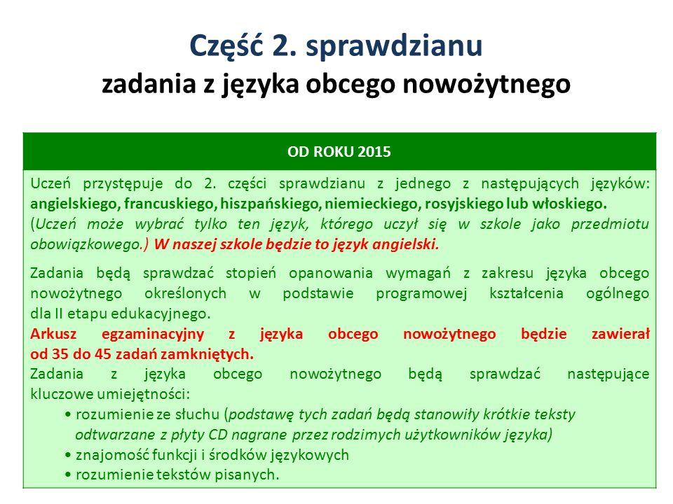 Część 2. sprawdzianu zadania z języka obcego nowożytnego 4 OD ROKU 2015 Uczeń przystępuje do 2. części sprawdzianu z jednego z następujących języków: