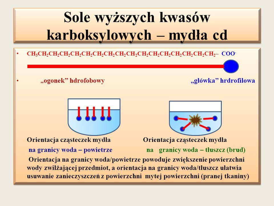 """Sole wyższych kwasów karboksylowych – mydła cd CH 3 CH 2 CH 2 CH 2 CH 2 CH 2 CH 2 CH 2 CH 2 CH 2 CH 2 CH 2 CH 2 CH 2 CH 2 CH 2 CH 2 – COO - """" ogonek"""""""