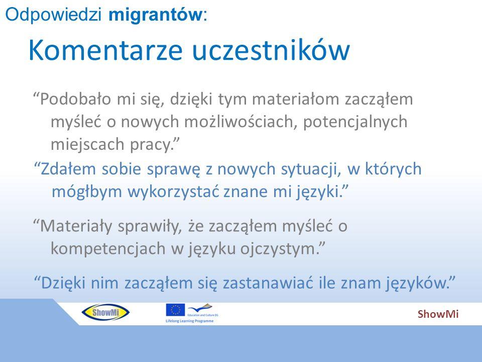 ShowMi Podobało mi się, dzięki tym materiałom zacząłem myśleć o nowych możliwościach, potencjalnych miejscach pracy. Komentarze uczestników Zdałem sobie sprawę z nowych sytuacji, w których mógłbym wykorzystać znane mi języki. Materiały sprawiły, że zacząłem myśleć o kompetencjach w języku ojczystym. Dzięki nim zacząłem się zastanawiać ile znam języków. Odpowiedzi migrantów: