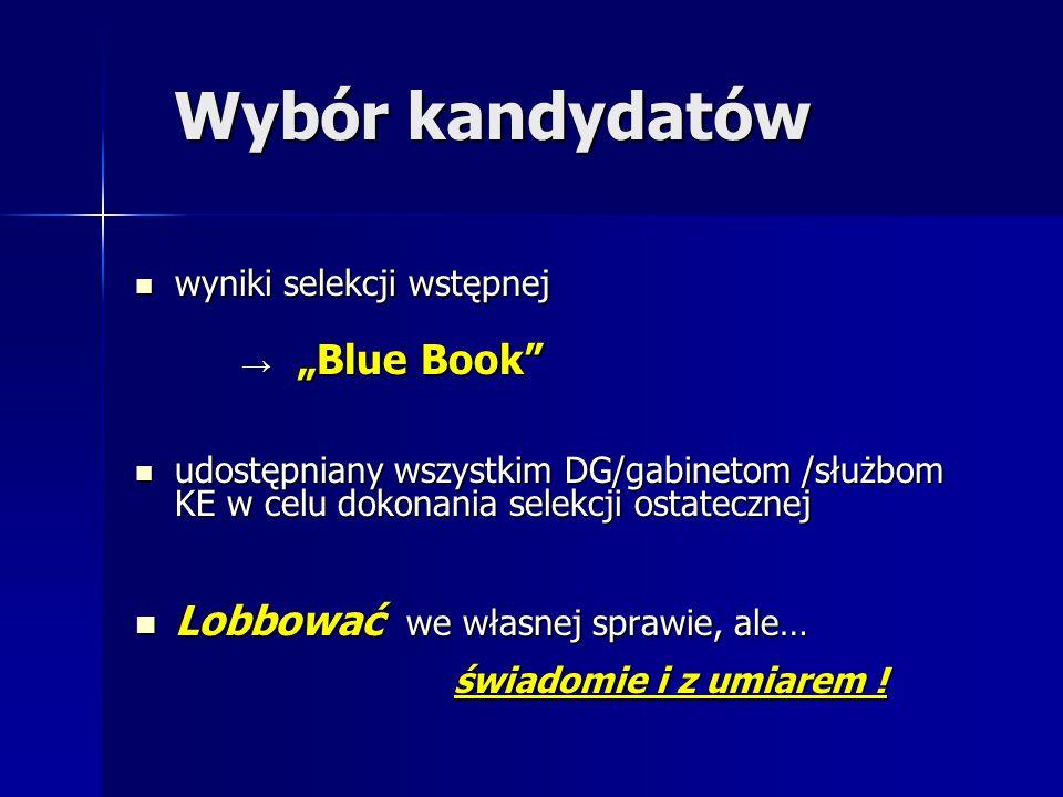 """Wybór kandydatów wyniki selekcji wstępnej wyniki selekcji wstępnej → """"Blue Book udostępniany wszystkim DG/gabinetom /służbom KE w celu dokonania selekcji ostatecznej udostępniany wszystkim DG/gabinetom /służbom KE w celu dokonania selekcji ostatecznej Lobbować we własnej sprawie, ale… Lobbować we własnej sprawie, ale… świadomie i z umiarem !"""