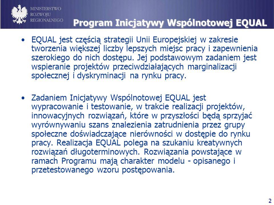 2 Program Inicjatywy Wspólnotowej EQUAL EQUAL jest częścią strategii Unii Europejskiej w zakresie tworzenia większej liczby lepszych miejsc pracy i zapewnienia szerokiego do nich dostępu.